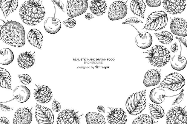 リアルな手描きの食品の背景