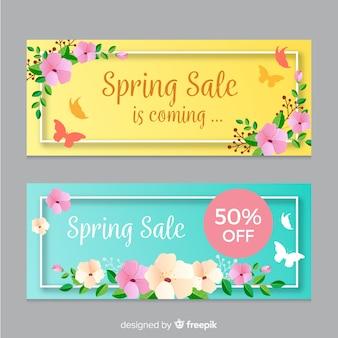 Плоские весенние распродажи баннеров