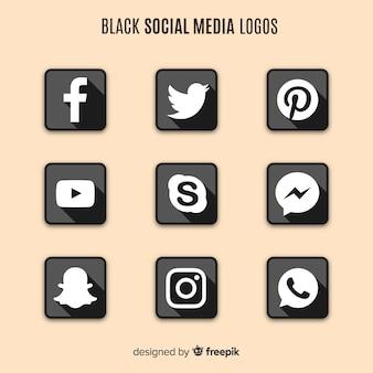 Черные логотипы в социальных сетях