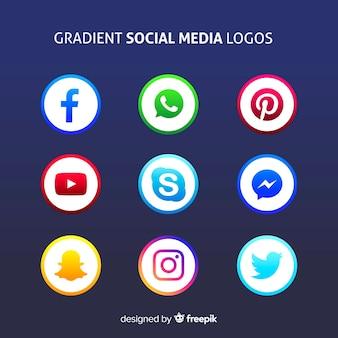 グラデーションソーシャルメディアのロゴ