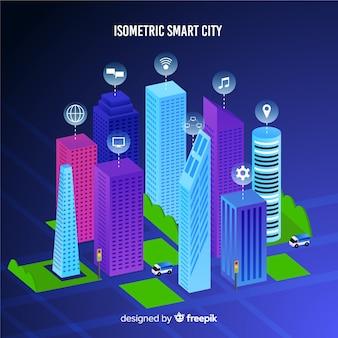 Изометрические умный город иллюстрация
