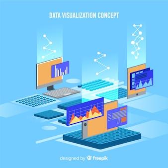 Изометрическая иллюстрация визуализации данных