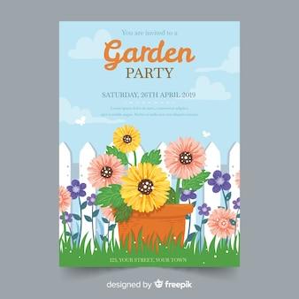 手描き春のガーデンパーティーの招待状