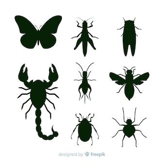 Черная коллекция силуэтов насекомых