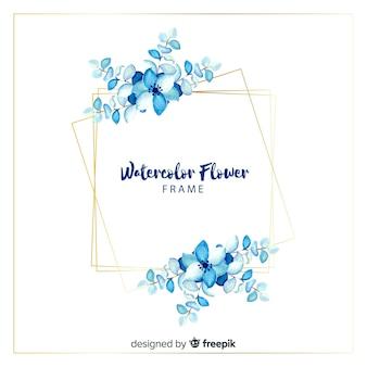 水彩の四角い春の花のフレーム