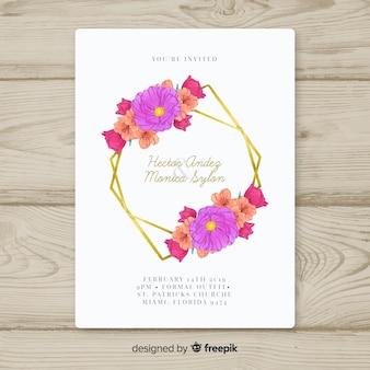 花のゴールデンフレーム結婚式招待状