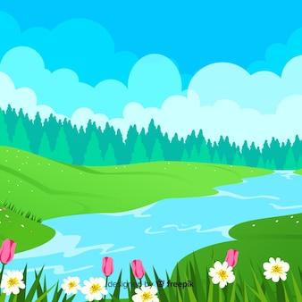 平らな春の背景