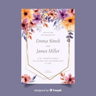 結婚式の招待カードのテンプレート