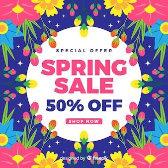 色とりどりの花の春販売の背景