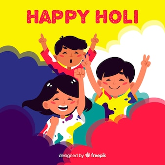 平らな人々のホーリー祭の背景を祝う