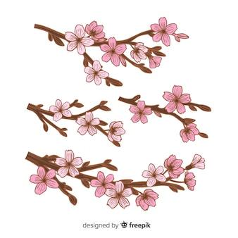 Нарисованная рукой иллюстрация ветви вишневого цвета