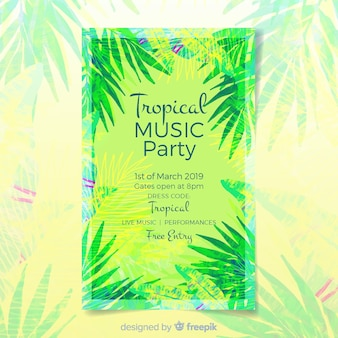 Шаблон плаката фестиваля тропической музыки