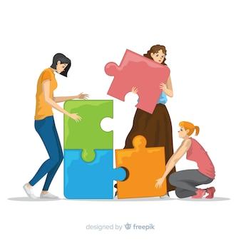 パズルのピース図を接続する人々