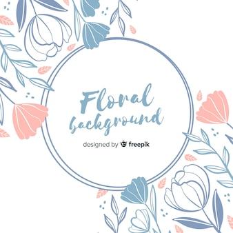 手描き花柄サークルフレーム