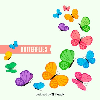 カラフルな蝶の背景