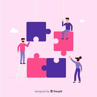 パズルを作るために協力する人々