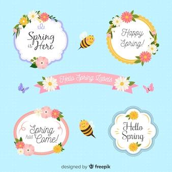 Коллекция плоских цветочных весенних этикеток