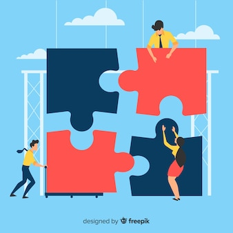 巨大なパズルの背景を作る人々