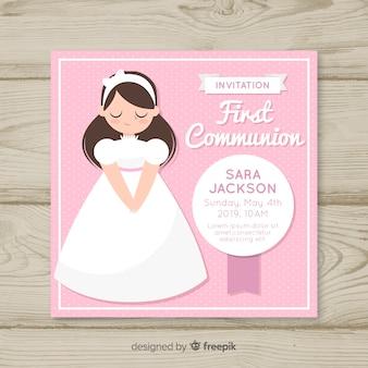 手描きの女の子初聖体拝領の招待状