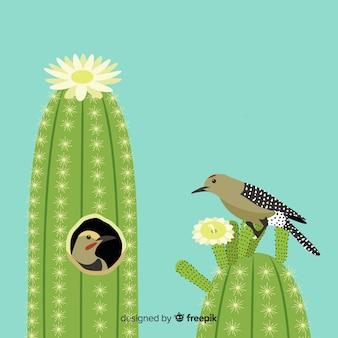 サボテンのイラスト上の鳥