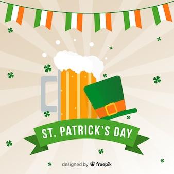 ビールと帽子の聖パトリックの日の背景