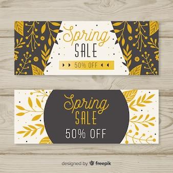 黒と金色の春のセールのバナー