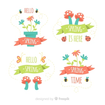 きのこと植木鉢の春のバッジセット