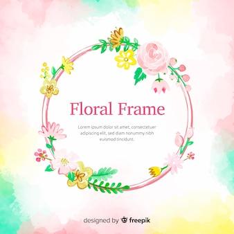 花の背景を持つ水彩丸枠