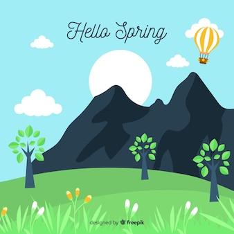 手描き山の春の背景