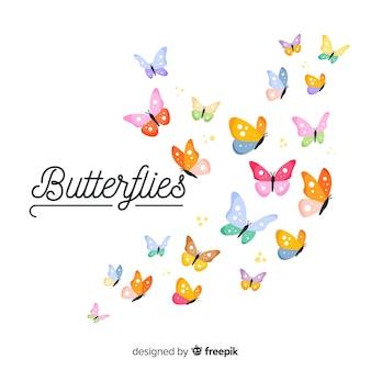 カラフルな蝶の群れの背景