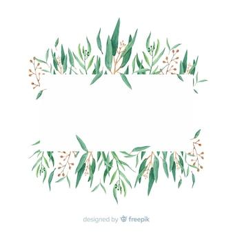 手描きのユーカリの枝の背景の空白スペース