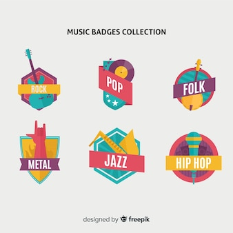フラットなデザインの音楽スタイルのバッジとステッカーのコレクション