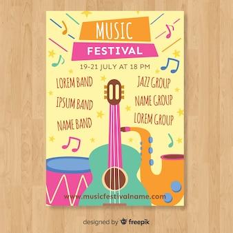 Нарисованный рукой шаблон плаката музыкального фестиваля