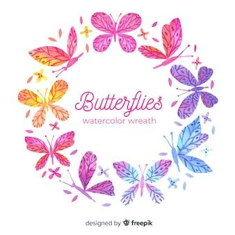 Акварельный венок бабочки