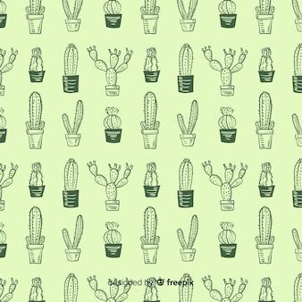 手描きサボテンパターン