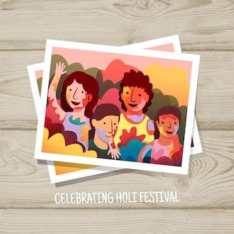 ホーリー祭を祝う人