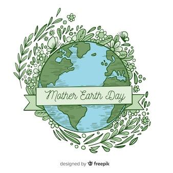 手描きの母なる地球日の背景