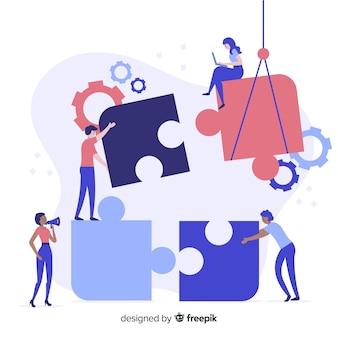 パズルのピースの背景を接続する人々