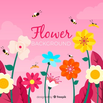 Плоский цветочный фон