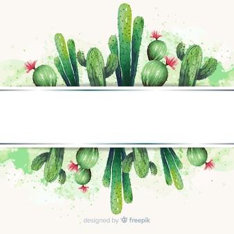 白紙の横断幕と水彩サボテンバナー