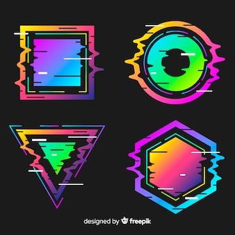 グリッチ幾何学的形状コレクション