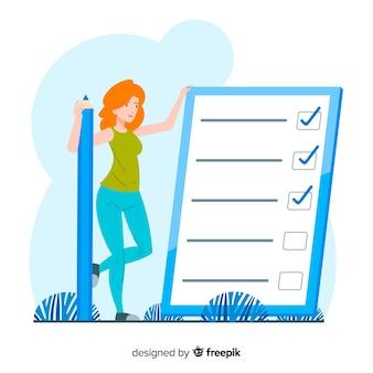 巨大なチェックリストの背景をチェックする女性