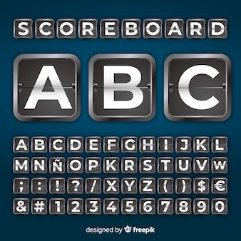 リアルなスコアボードスタイルのアルファベット