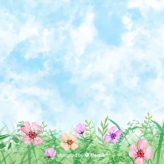 Акварель весенний пейзаж
