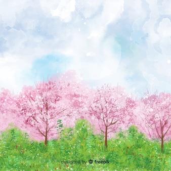 水彩春の風景