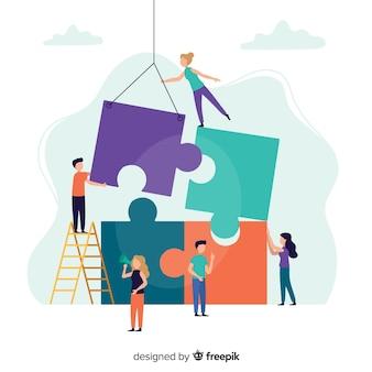 Люди, соединяющие фон головоломки