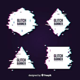 グリッチ幾何学的形状のバナー