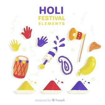 手描きホーリー祭要素コレクション