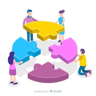 Люди, соединяющие кусочки головоломки изометрического фона