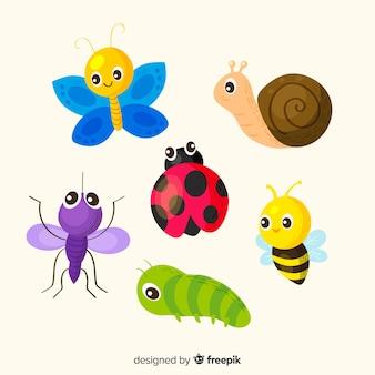かわいい手描きの昆虫パック